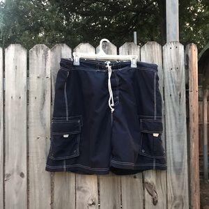 Large navy blue swim trunks by sand n fun